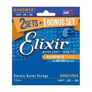 Pachet corzi 2+1 pt chitara electrica Elixir Nanoweb Light Pack
