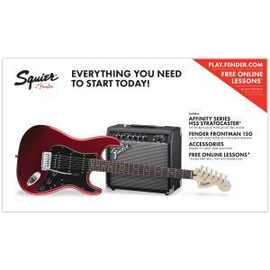 Set Chitara Electrica Squier Affinity Strat HSS Candy Apple Red cu Fender Frontman 15G