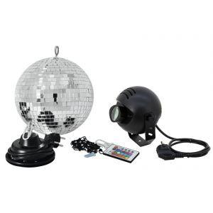 Set Glob de oglinzi Eurolite 20cm cu proiector LED RGB
