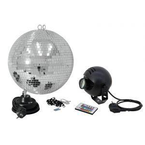 Set Glob de oglinzi Eurolite 30cm cu proiector LED RGB
