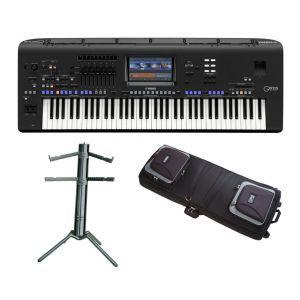 Set Keyboard Yamaha Genos cu Husa si Stativ Clape K&M Spider PRO